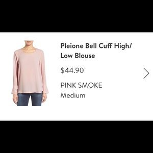 Pleione bell sleeve high low blouse
